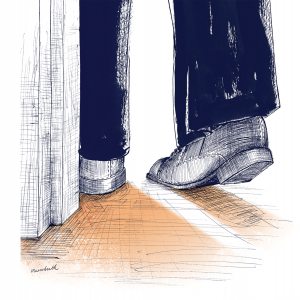 Illustration of someone's feet as they walk out a door.