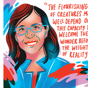 """An illustration of Mayra Rivera. She has dark brown hair and glasses and is smiling, with a quote that says, """"The flourishing of creatures may well depend on this capacity to welcome the wonder before the weight of reality."""""""