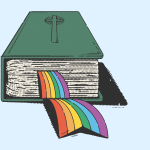 An illustration of a Bible with a rainbow pride flag bookmark poking out of the pages.