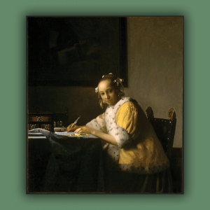 """Vermeer's """"A Lady Writing"""" depicts a woman sitting at a desk in a yellow robe writing."""