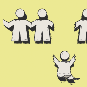 Paper cut outs of people hold hands, but one in the middle is ripped apart from the others and is falling.
