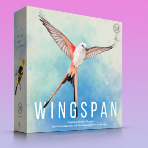 The box of the board game Wingspan has a white bird with outstretched wings on it.