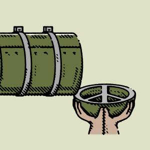 Illustration of a bomb next to hands holding out an empty bowl.