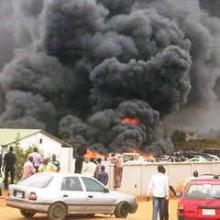 Smoke billows from Christ the King Catholic Cathedral in Zaria, Nigeria.