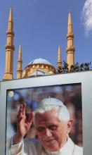 Poster of Pope Benedict XVI in Beruit, Lebanon.