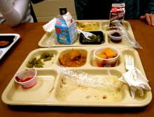 Cafeteria tray and food. Via http://www.wylio.com/credits/Flickr/2033876359