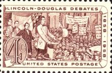 Stamp commemorating the 100th anniversary of the 1858 Lincoln-Douglas debates.