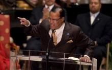 Farrakhan speaking in Chicago, 2008. Photo via Getty Images.