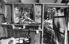 Author Annie Dillard, standing in her writing shed, 1987. By Getty Images.