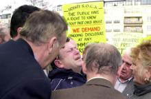 Clergy abuse protest in Dublin, 2002. Photo via Getty Images.