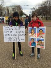 Two young women join the march on Monday January 19. Image courtesy Charissa L