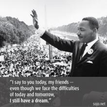 Martin Luther King, Jr., photo: public domain. Illustration by Sandi Villarreal