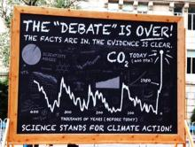 "Giant climate science ""blackboard"" at the People's Climate March in NYC on Sunda"