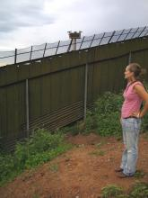Maryada Vallet stands in Nogales, Mexico, pondering this wall.