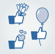 Rendering of Facebook 'like' symbols with flowers and love. Illustration courtes