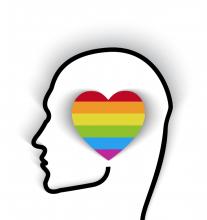 Head contour with rainbow flag in the shape of a heart. Image courtesy bymandesi