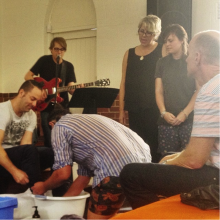Foot-washing ceremony. Photo courtesy Jarrod McKenna