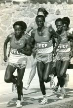 Suleiman Nyambui (center), who ran at UTEP between 1978-1982 and won the silver