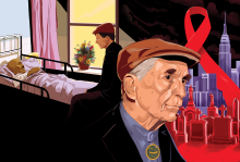 Illustration of peace activism Dan Berrigan's face. He is wearing a golf cap and behind him is the New York City skyline with a red ribbon for AIDS awareness.