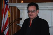 Bono speaks on Capitol Hill at a World AIDS Day event, 12/1/2011. Photo by Lisa