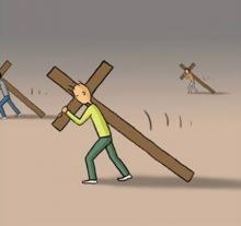 Carrying the cross. Image courtesy Christian Piatt/Patheos.