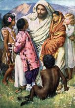 Jesus comforts the children. Image via Wylio.