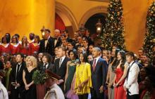 Justin Bieber (far right) sings with the Obama family at the Christmas in Washin