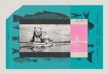 Photo collage of a fishing boat, fishing nets, fishing logs, etc