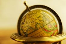 Closeup of a globe. Nejron Photo / Shutterstock