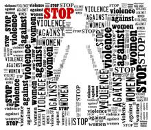 Stop Violence Against Women word cloud, mypokcik / Shutterstock.com