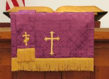 Church pulpit with flag behind, Christina Richards / Shutterstock.com
