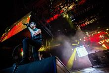 Perry Ferrel singing with Jane's Addiction in 2012. Mat Hayward / Shutterstock.c