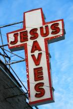 'Jesus Saves' sign in Toronto. Image courtesy Atomazul/shutterstock.com