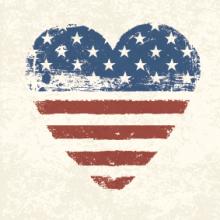 Heart-shaped American flag,  pashabo / Shutterstock.com