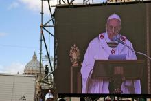 Pope Francis at his installation. marcovarro / Shutterstock.com