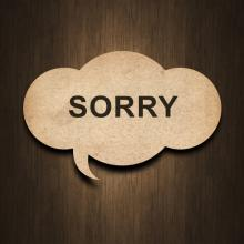 Apology text, chevanon / Shutterstock.com