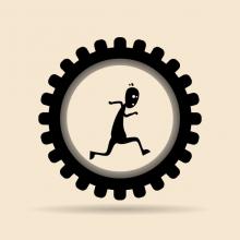 Man on a wheel, Hermin / Shutterstock.com
