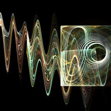 Abstract rendering of bright sound waves.