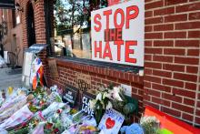 Memorial for Orlando victims outside the landmark Stonewall Inn in New York City.