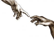Sketch of God and Adam's hands, aleisha / Shutterstock.com