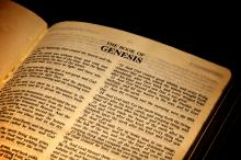Bible open to the Book of Genesis, Sara Calado / Shutterstock.com