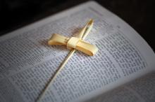 Palm Cross on Bible, Cheryl Casey/Shutterstock.com