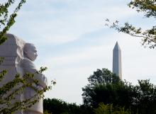 A memorial to Dr. Martin Luther King, Jr gazes towards the Washington Monument i