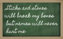 Sticks and stones saying, Vepar5  / Shutterstock.com