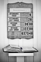 Church attendance board, SUSAN LEGGETT / Shutterstock.com