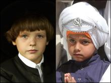 Amish boy (left) and Sikh boy (right).