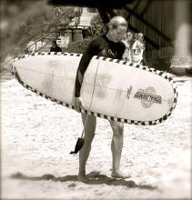 Sarah Vanderveen heads in from surfing in her hometown.