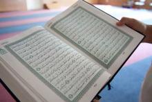 A Quran photographed in a mosque (2012). RNS photo by Sally Morrow
