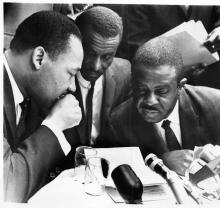 Rev. Martin Luther King, Jr.; Rev. Fred Shuttleworth; Rev. Ralph Abernathy. Phot