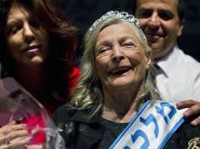 Shoshana Colmer smiles after winning the 'Miss Holocaust Survivor Beauty Contest